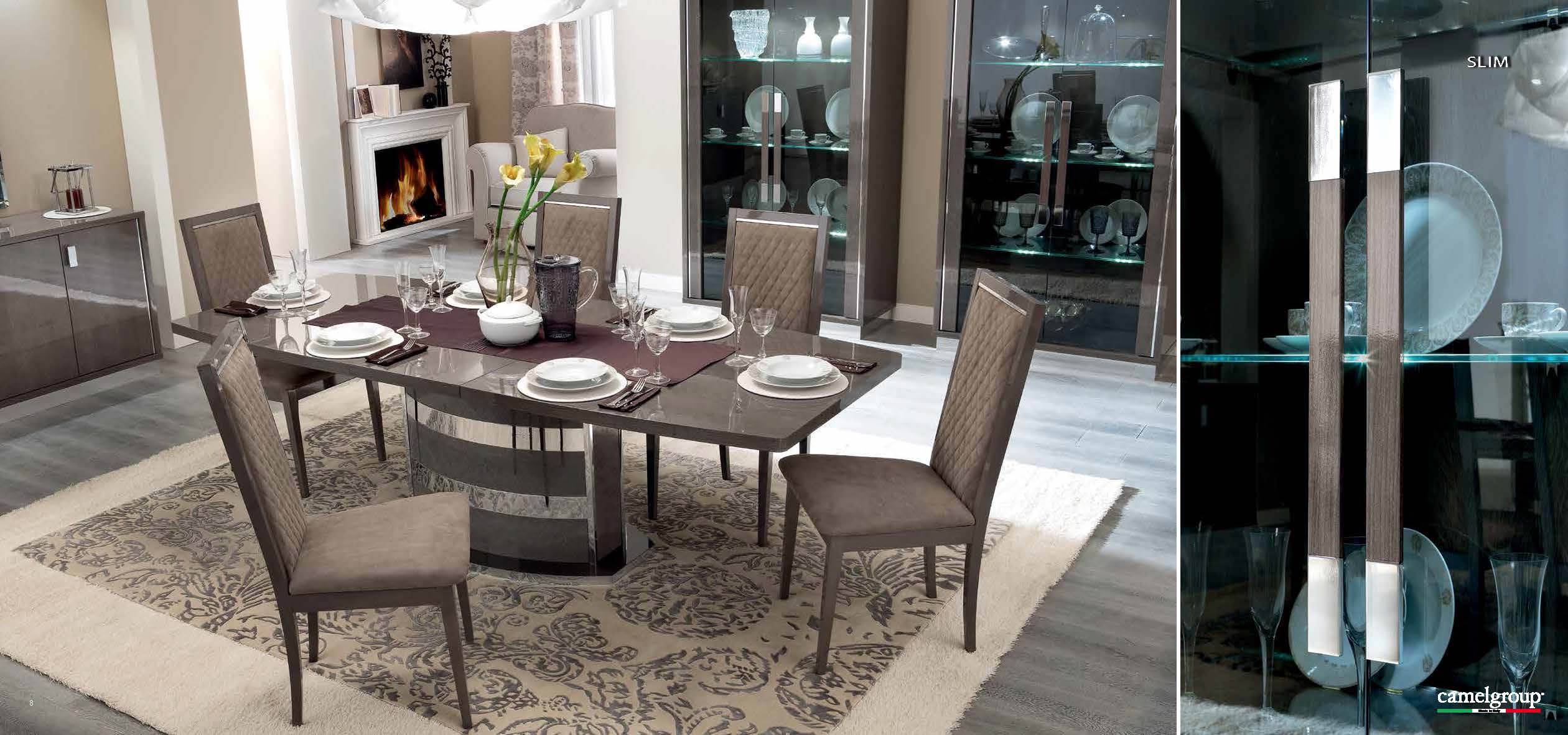 Platinum slim dining modern formal dining sets dining for Dining space