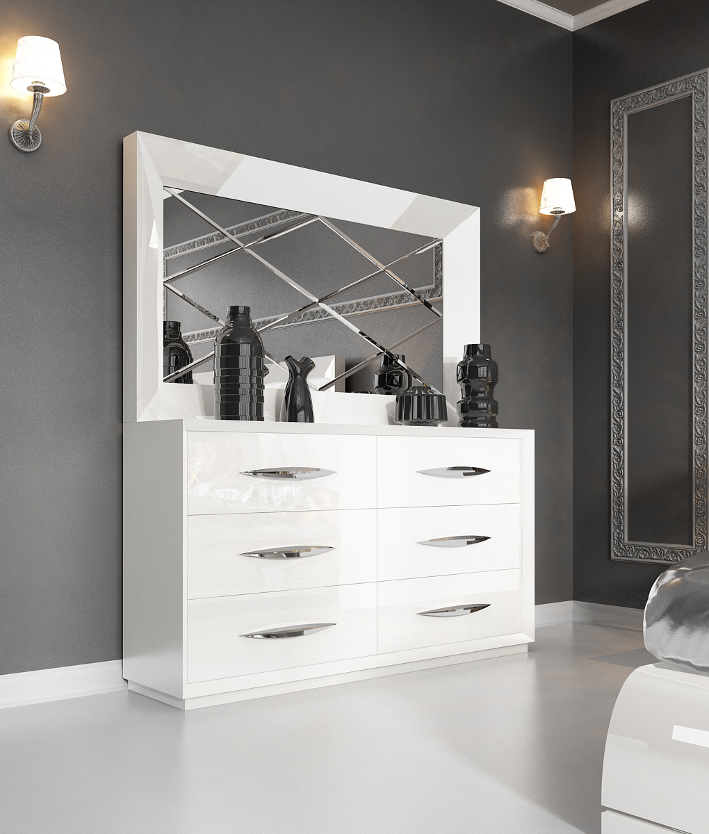 Carmen White Double Dresser And Mirror