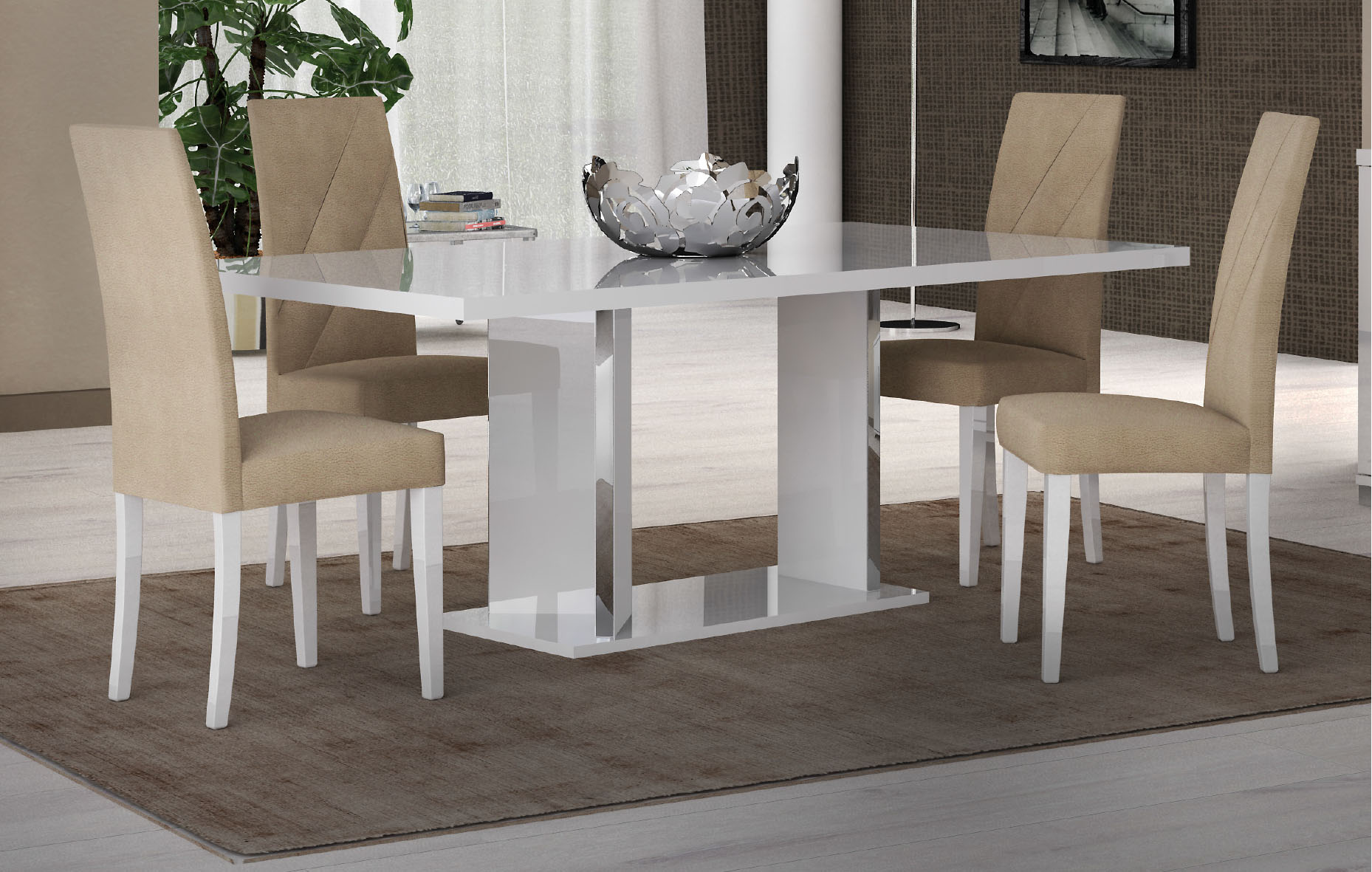 D313 Modern Dining Room Set In White Lacquer Finish: Lisa Dining Room, Italy, Modern Formal Dining Sets, Dining