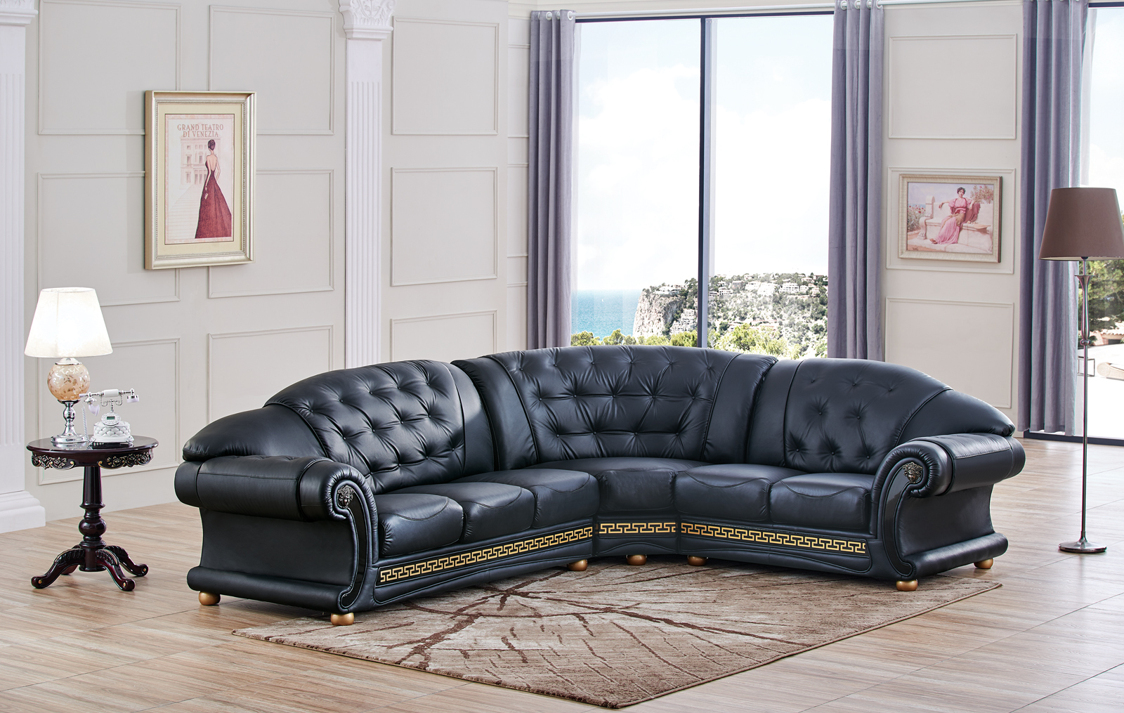 Apolo Sectional Black, Sectionals, Living Room Furniture